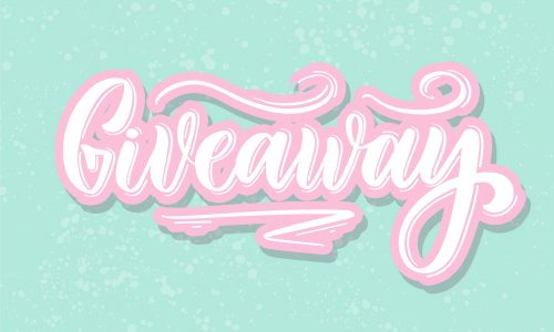 Giveaway hand lettering vector.